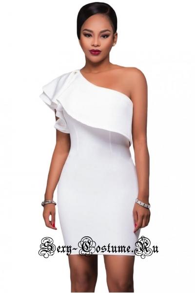 Платье белое через одно плечо клубное n22950-1