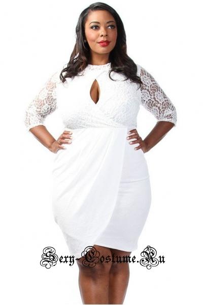 Платье белое клубное с интересным верхом n61305