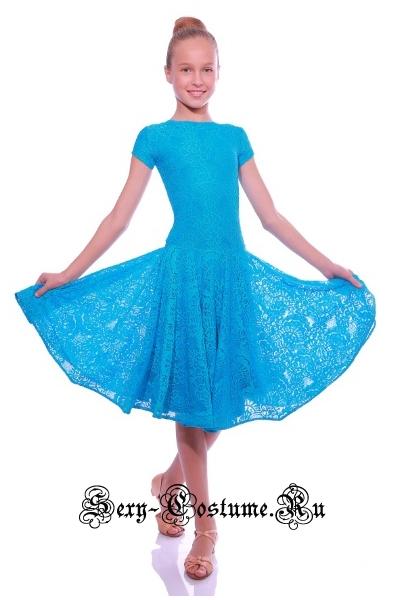 Платье рейтинговое с ригилином рост 122-128см уценка Россия пр1.1р голубой