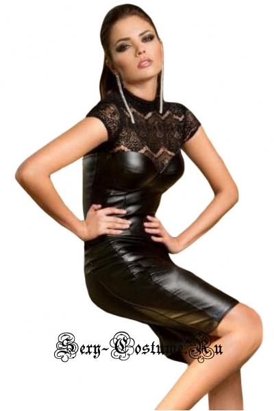 Черное платье виниловое  клубное с полупрозрачным верхом n2592