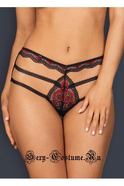 Высокие трусики черный + красный obsessive megies panties