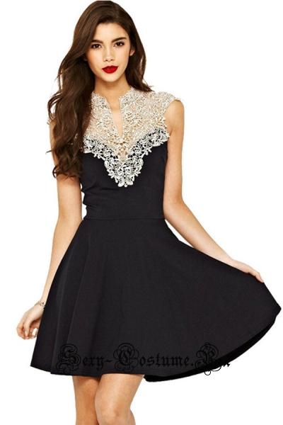 Платье клубное черное с белым верхом m22149