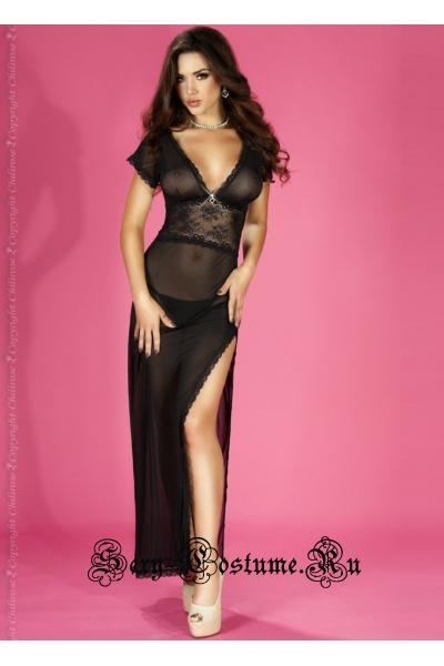 Полупрозрачная сорочка в пол с коротким рукавом черная chilirose cl3625 black