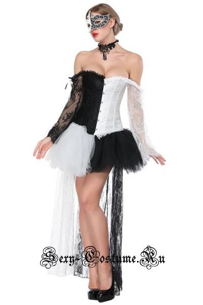 Арлекино театра корсет черный белый + юбочка m16494
