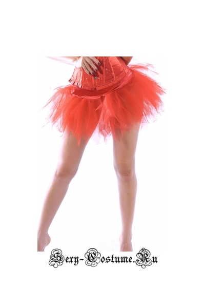 Подъюбник юбка красный n7036-2