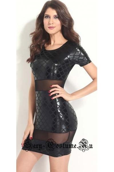 Виниловое черное платье m1029