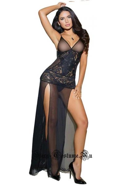 Сорочка длинная черная с боковыми вырезами w0078