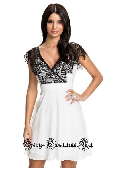 Платье белое с черным верхом клубное n22087