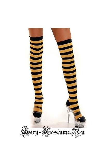 Гольфы тканевые полосатые желто-черные d9006-6