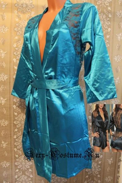 Халатик с гипюровой спиной светло-синий 3432-5
