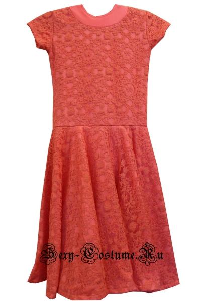 Платье рейтинговое светло-красное на рост 140-146см Россия 103lx  персиковый
