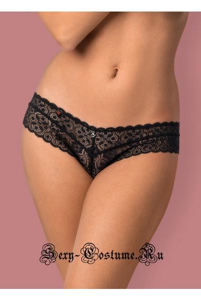 Кружевные трусики-шорты черные obsessive shibu shorties