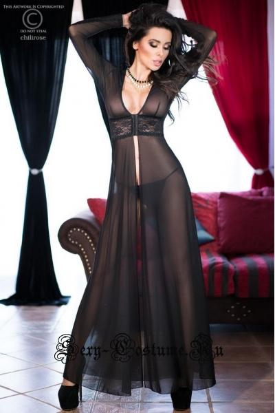 Сорочка длинная черная chilirose cl4136