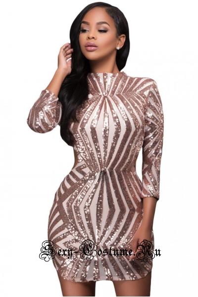 Платье светло-розовое клубное с паетками d22891