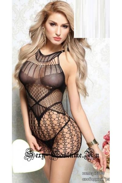 Капроновое платье черное сетка nightks lu6060