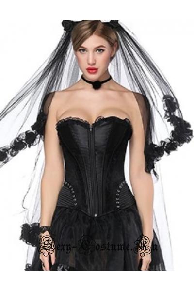 Корсет черный тканевый с гипюровыми вставками невеста m18207-2