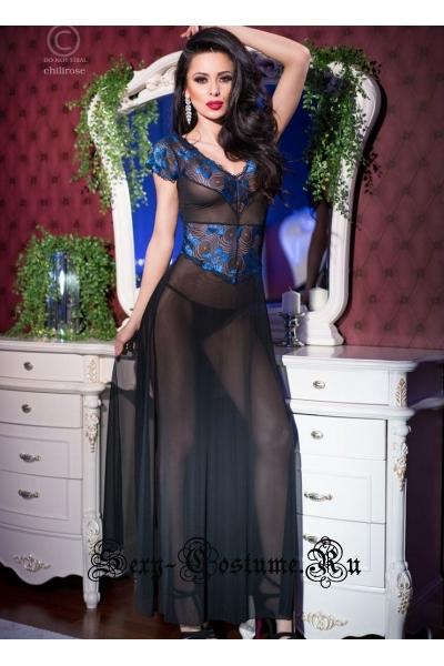 Сорочка длинная черный + синий из прозрачного тюля и кружева chilirose cl4196