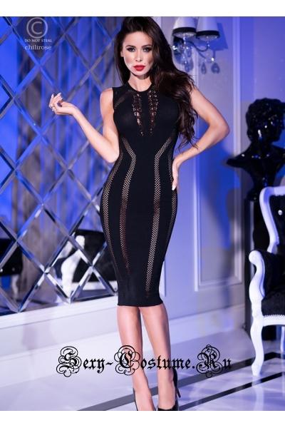 Капроновое платье черное chilirose cl4300