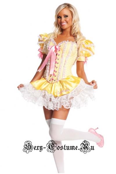 Девушка-милашка мальвина корсет желтый + юбочка + кофта последние n8490