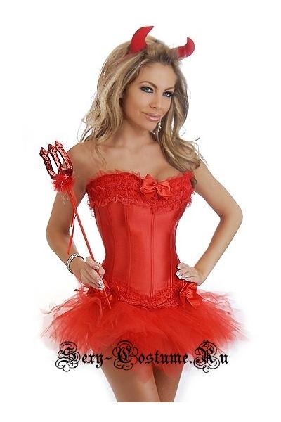 Дьяволенок-чертовка корсетный костюм корсет красный d6257-8