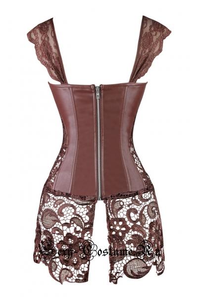 Тканевый корсет коричневый с гипюровой юбочкой w5404-4