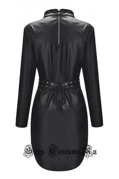 Виниловое черное платье тринити m20057