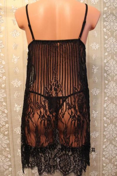 Сорочка черная прозрачная вертикальные полосы и рисунок lu1173b