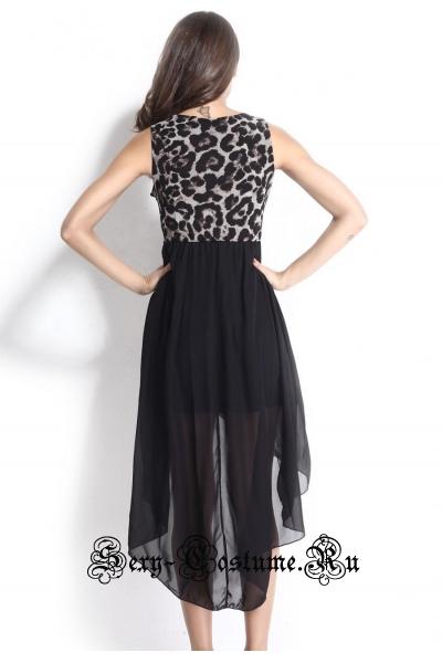Платье черное + леопардовая клубное d6540