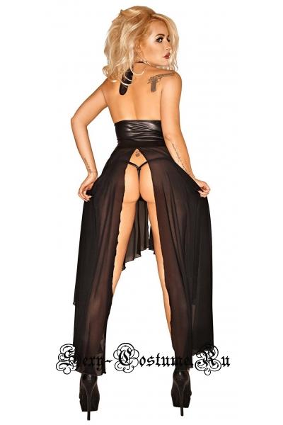 Полупрозрачное черное платье  с виниловыми вставками m1515