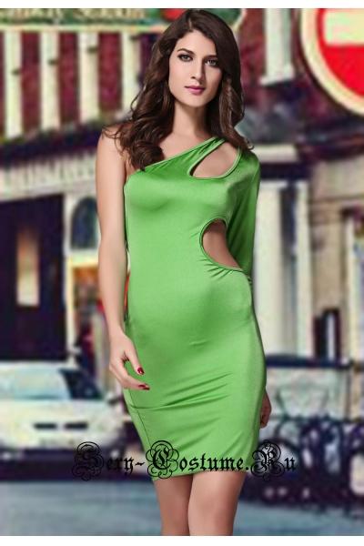 Зеленое платье через одно плечо с вырезами n2974
