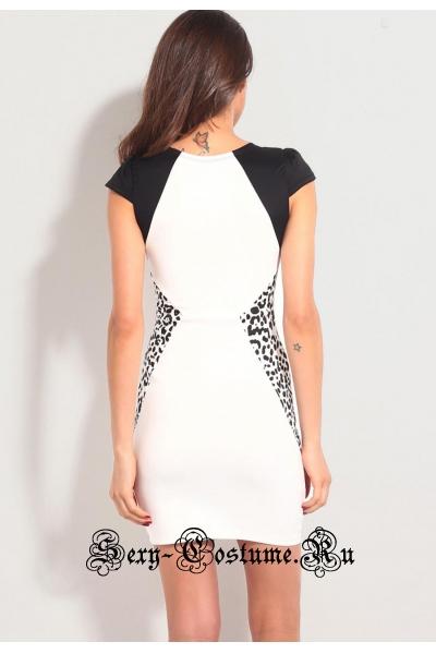 Платье белое с черно-белыми вставками d21101