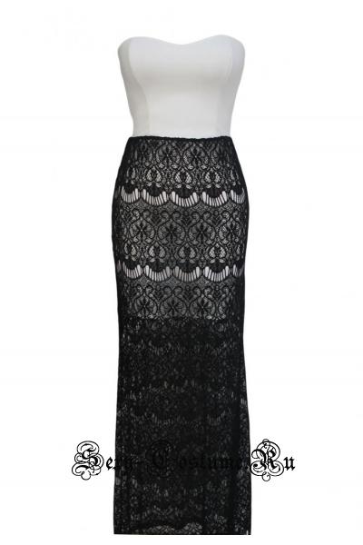 Короткое белое платье + черная юбочка d60128