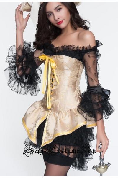 Золотистая пираткакорсетный костюм m10898