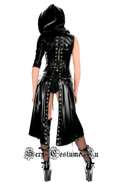 Виниловое платье 95см с капюшоном аля тринити m10400