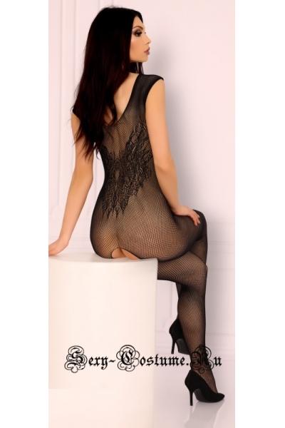 Черное откровенный боди-комбинезон в мелкую сеточку livia corsetti sarnai