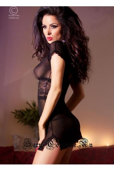 Мини сорочка черная с кружевом и сексуальностью chilirose cl4009 black