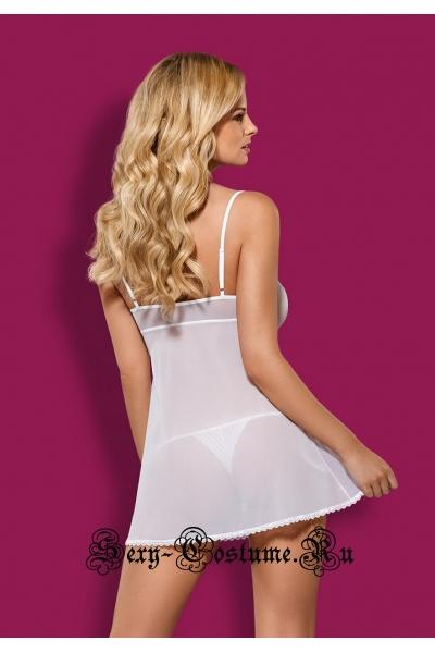Сорочка белая полупрозрачная с игривой окантовкой obsessive sensita babydoll