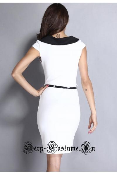 Платье белое клубное с черным воротником d6490