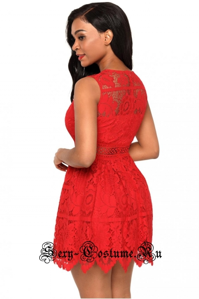Красное платье клубное узоры d2202-62