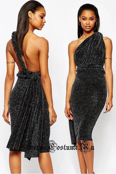 Черное платье трансформер свободный верх m6774