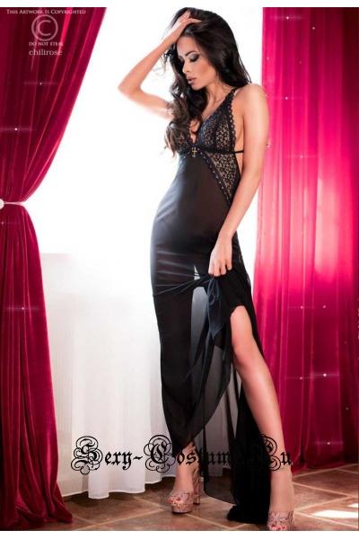 Сорочка черный + розовый из прозрачной ткани с шлейфом chilirose cl4064 long gown