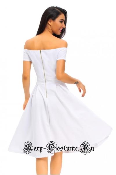 Белое платье  клубное открытые плечи d61228