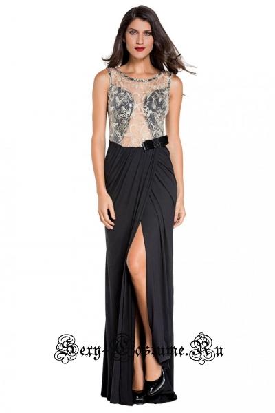 Черное платье длинное клубное с полупрозрачной белой вставкой d6839