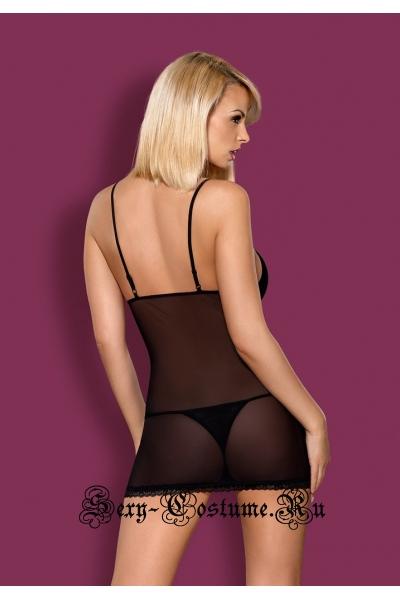Сорочка черная вдохновение с кружевом obsessive 820 chemise
