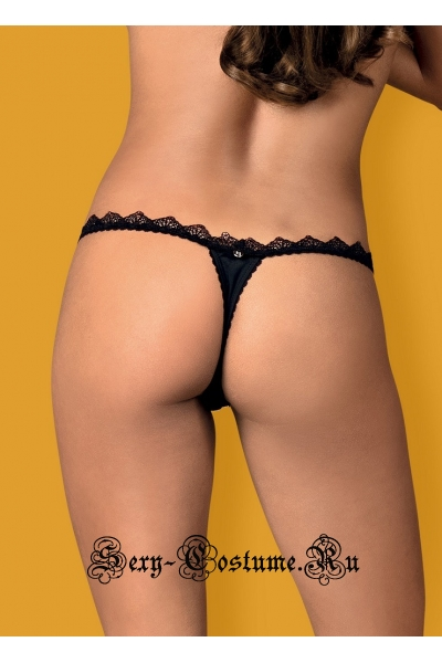 Трусики-стринги черные obsessive lolitte thong