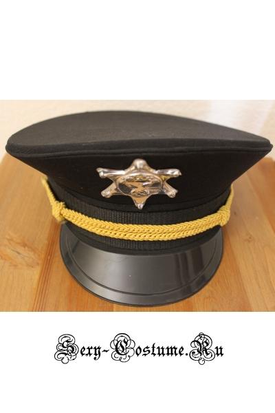 Черная фуражка полицейскогокопа m12347