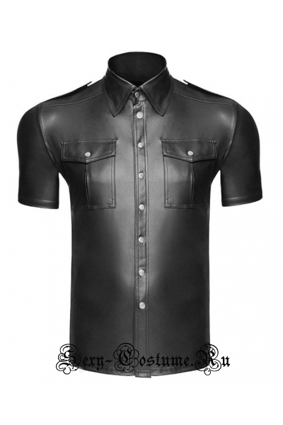 Мужская черная виниловая рубашка m19000