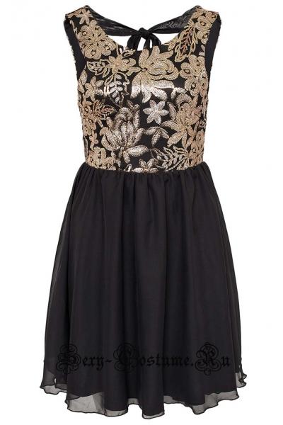 Черное платье клубное золотистый паеточный узор m10137