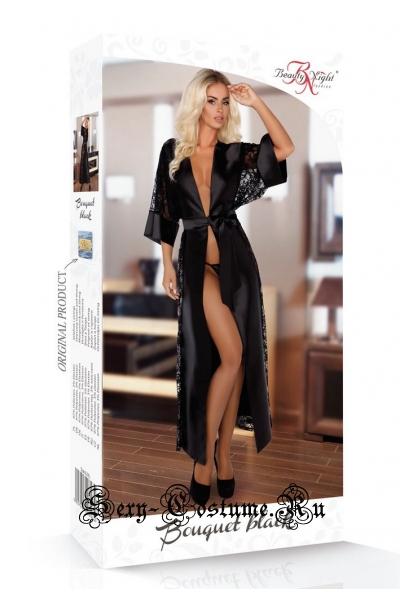 Халат черный длинный атласный пеньюар beauty night bouquet black