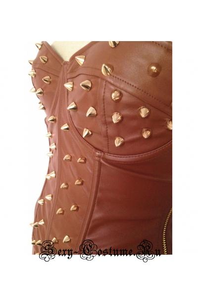 Кожзам комплект госпожа с шипами корсет+ юбка n6580